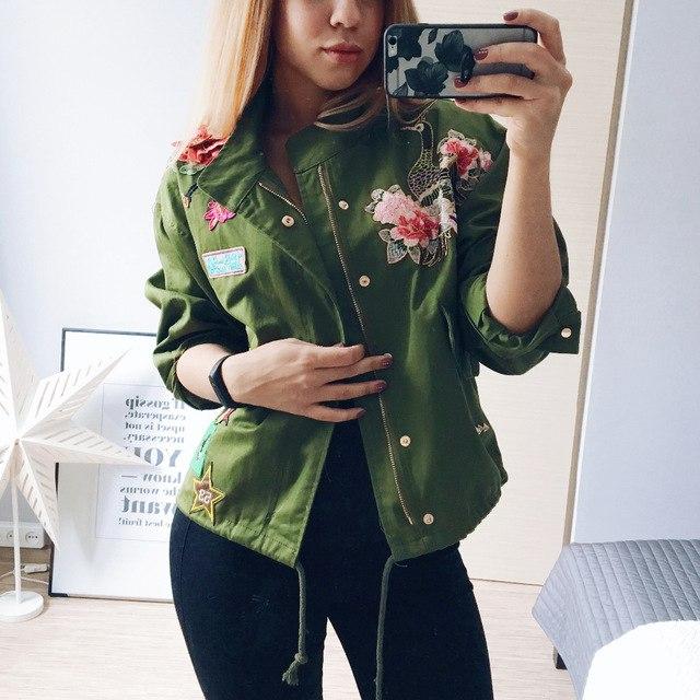 Куртка хаки с вышивкой